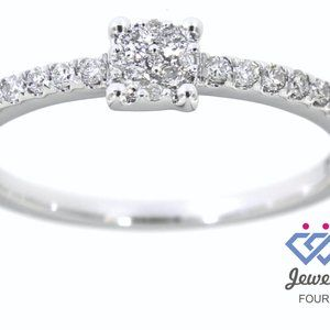 Cluster Diamond Fancy Delicate Ring 14K White Gold